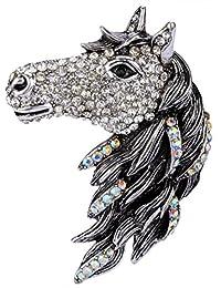 Angel Jewelry Women's Crystal Big Horse Brooch Pendant
