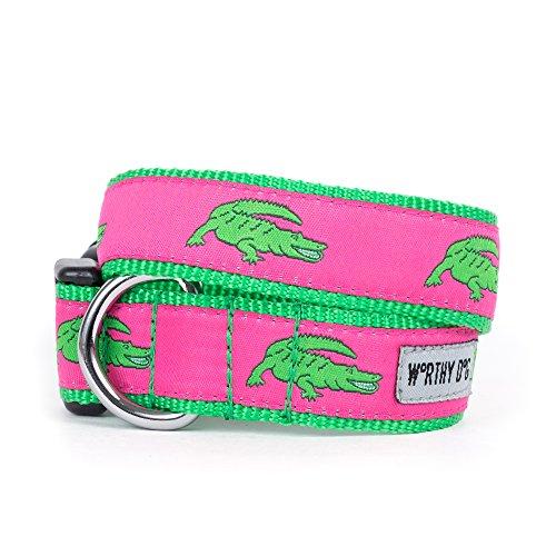 The Worthy Dog   Green Alligators    Adjustable Designer Pet Dog Collar , Pink, ()