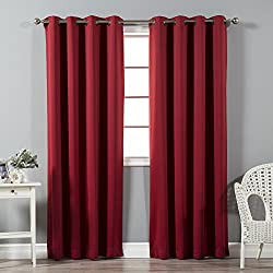 "Best Home Fashion Thermal Insulated Blackout Curtains - Antique Bronze Grommet Top - Cardinal Red - 52""W X 96""L - (Set of 2 Panels)"