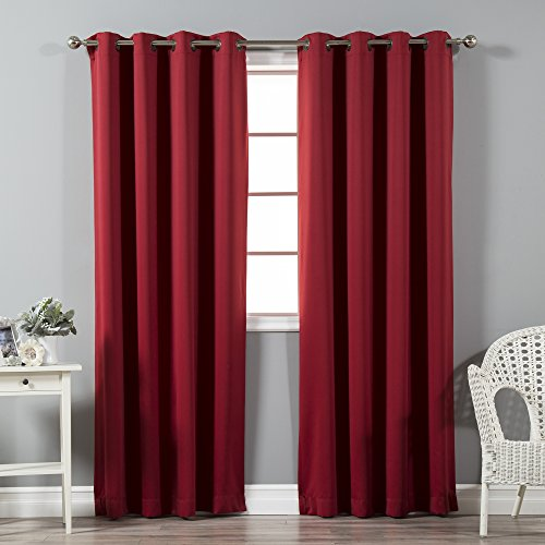 Best Home Fashion Thermal Insulated Blackout Curtains - Antique Bronze Grommet Top - Cardinal Red - 52