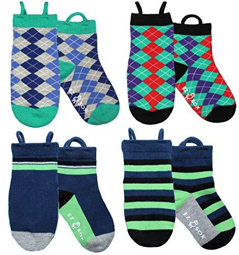 Ez Sox Toddler Boys Socks Non Skid Anti Slip Grip Seamless Toe Pull Up Loops (Small, Argyles-Blue Solid Stripes)