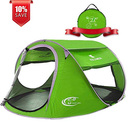 ZOMAKE Pop Up Tent 3 4 Person, Beach Tent Sun Shelter for Baby with UV Protection - Automatic and Instant Setup Tent for Family (Green)