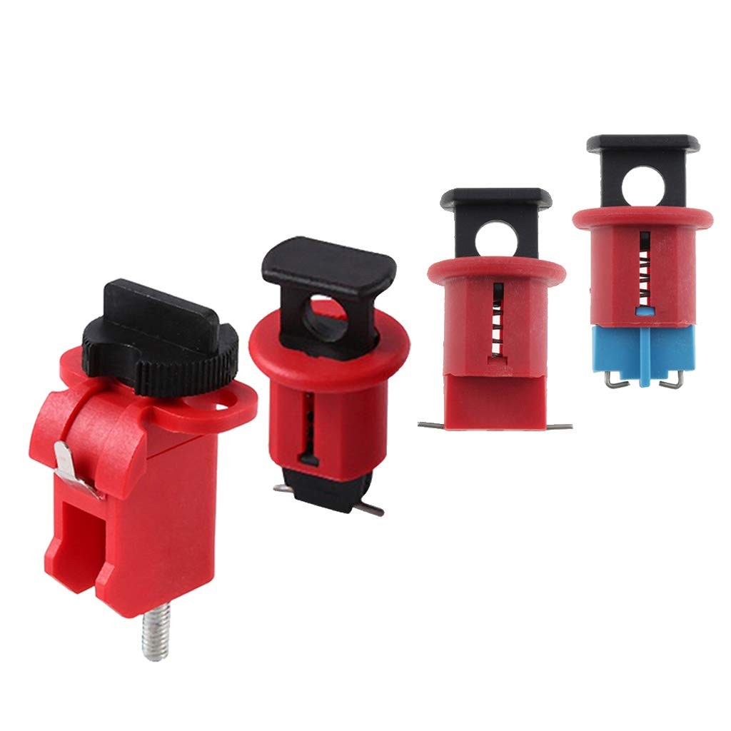 B Blesiya 4 Pieces Miniature Circuit Breaker Lockout MCB Lockouts Safety Device, locks out virtually all miniature ISO/DIN circuit breakers universally
