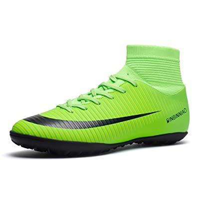 ec24f8ffa61c Amazon.com | Binbinniao CR Indoor - TF Turf Cleats Boys - High Tops Ankle  Boots Women Turf - Messi Outdoor Soccer Shoes - Men Size Black | Soccer
