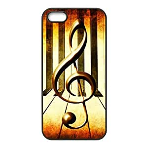 iPhone 5 5S Case,Vintage Music Note Music Symbol Piano Keys Hign Definition Retro Design Cover With Hign Quality Hard Plastic Protection Case