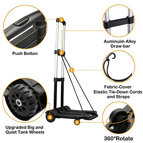 Folding Hand Truck 4 Wheel-roate 75 Kg/165 lbs Heavy Duty Solid Construction Utility Cart Compact and Lightweight for Luggage/Personal/Travel/Auto/Moving and Office Use by tomser (Image #3)