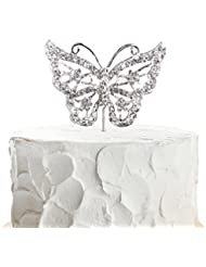 JennyGems Butterfly Cake Topper - Wedding Cake and Birthday Cake Party Topper - Butterfly Theme - Photo Prop
