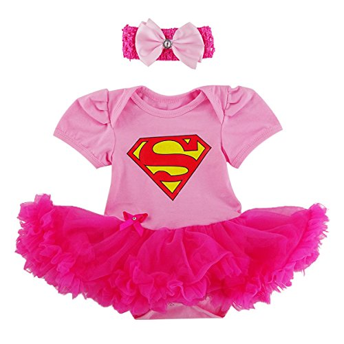 Laudmu Newborn Infant Baby Girl Supergirl Romper Dress,Headband Clothe set - Pink (XL(12-18month)) (Supergirl Halloween)