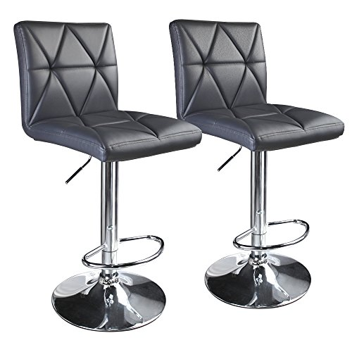 Leader Accessories Modern Swivel Grey Bar Stool Diagonal Line, Hydraulic Adjustable Bar Stools,Set of 2 (Sets Bar And Stool)