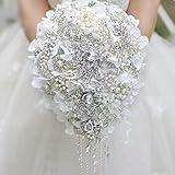 White Hydrangea drop brooch bouquet Silver wedding bouquets crystal teardrop Bridal Bouquet Pearl tassels decor