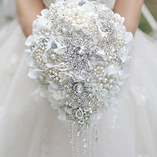 White Hydrangea drop brooch bouquet Silver wedding bouquets crystal teardrop Bridal Bouquet Pearl tassels decor by IFFO