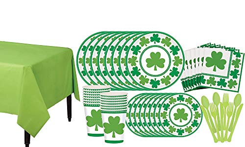 Party City Lucky Shamrock Value Tableware Kit for 32 Guests, Includes Plates, Napkins, and Utensils