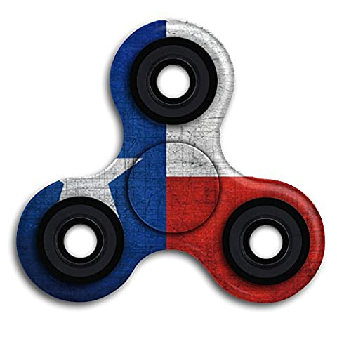 LOOOOK Texas State Flag Vintage Tri-spinner Fidget Toy Cool Portable 360 Triangle Finger Spinner Stress Reducer Anti-anxiety With Mental Bearing For Relieves ADD ADHD Autism Adult (The Texas Triangle)