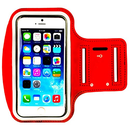 2nd Generation Sports Armband - Water Resistant Sports Armband,iEugen Universal up to 5.5 Inch with Key Holder for iPhone Xs XR 8 Plus, 7 Plus, 6 Plus, 6S Plus (5.5-Inch), Galaxy S9/S8/S6/S5, S9 Plus, S8 Plus, Note 4 -Red