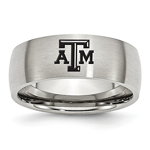 (Jewel Tie Size 8 - Stainless Steel Texas A&M University Laser Etch Ring (8mm))