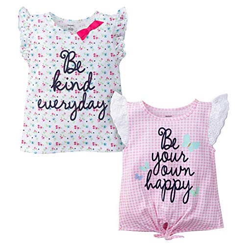 Gerber Graduates Baby Girls 2 Pack Shirts, Floral and Gingham, 12 Months ()
