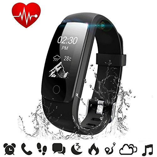 Fitness Tracker Heart Rate - COOLEAD ID107Plus HR Music Control Remote Shoot Activity Tracker,GPS Pedometer Sleep Monitor,Waterproof Bluetooth Smart Bracelet Wristband for Android / IOS Phone(Black)