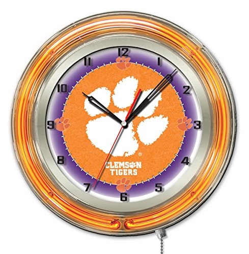 (Clemson Tigers HBS Neon Orange College Battery Powered Wall Clock (19