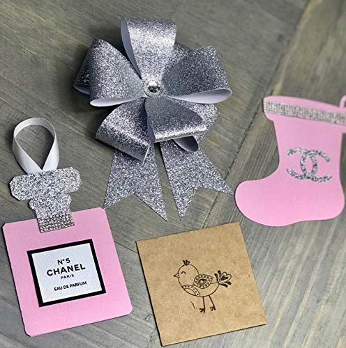 Fashionista Sparkly Pink & Silver Perfume Bottle Ornaments, Rhinestone Christmas Stockings, Silver Bows, Set Of 15 -