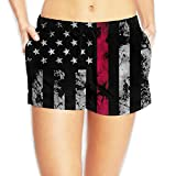Alphary Firefighter Thin Red Line American Flag for Women Board Shorts Beach Swim Trunks Beachwear Athletic Gym Shorts