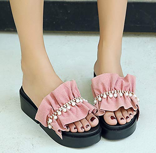 Mules Dentelle Confortable Ouvert Easemax Femme Slip Rose Bout on wagq10