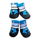 Ewolee Dog Shoes, Waterproof Anti-Slip Dog Boots with Two Reflective Straps, Paw Protectors Shoes for Small to Medium Dogs 4 Pcs, M Size