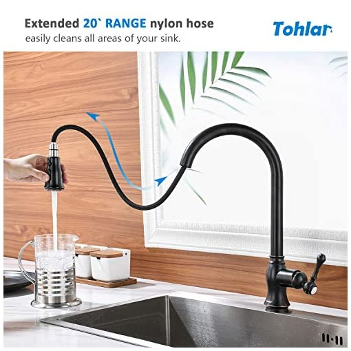 Farmhouse Kitchen Tohlar Oil Rubbed Bronze Kitchen Faucet, Kitchen faucets with Pull Down Sprayer, Bronze Kitchen Faucet, Kitchen Faucet… farmhouse sink faucets