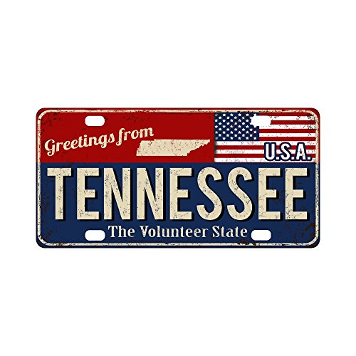 "InterestPrint Greetings From Tennessee State Vintage Rusty Metal Sign Automotive Metal License Plate Car Tags Cover for Woman Man, 12"" x 6"""