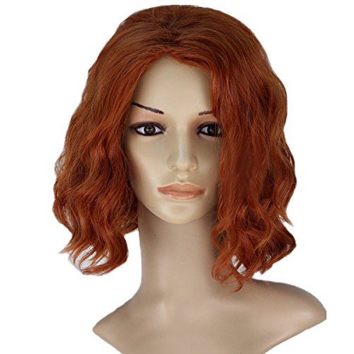 Romanoff Natasha Costumes Black Widow (Angelaicos Women's Wavy Fluffy Halloween Cosplay Costume Wigs Short)