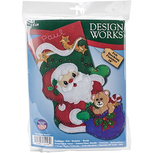 Tobin 5248 Starlight Santa Stocking Felt Applique Kit, 18""
