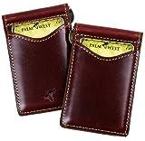 Palm West Leather Minimalist Leather Money Clip Wallet with RFID Blocking Technology, Dark Cherry