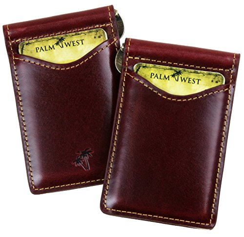 - Palm West Leather Minimalist Leather Money Clip Wallet with RFID Blocking Technology, Dark Cherry