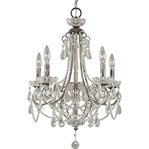 Distressed chandelier amazon minka lavery 3134 207 5 light distressed silver up chandeliers aloadofball Images