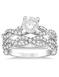 Women's Contemporary Diamond Bypass Twisted Infinity Bridal Set Setting Palladium (1.13ct)