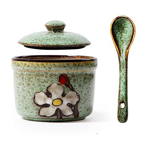 (Japanese Retro Flower Pattern Sugar Bowl Sugar Dispenser Salt Pepper Storage Jar Pot Container Seasoning Pot Holder with Lid and Spoon for Home Kitchen,5.4 Oz, Green)