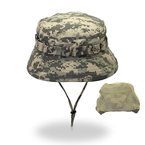 (HHF Caps & Hats Outdoor Camping Men Fisherman Hat, Digital Camouflage Army Hat Wholesale Sunscreen Bionic Jungle Hat Snapback Bucket Cap (Color : Green))