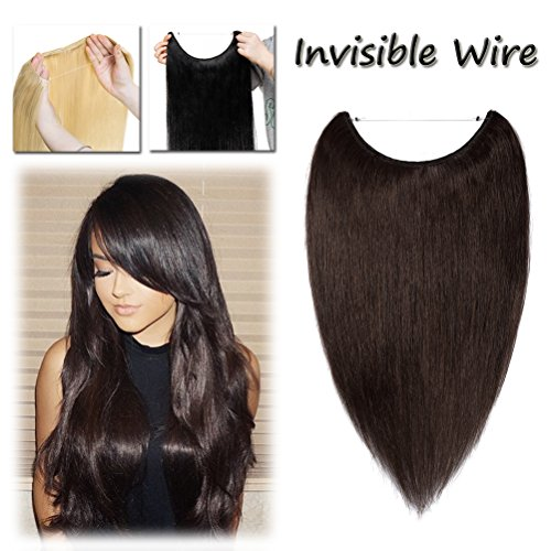 Miracle Hidden Invisible Translucent Wire in Human Hair Extensions Fish Line No Clip Dark Brown 16-22 Inch Long Straight Remy Hair (16'' #2)
