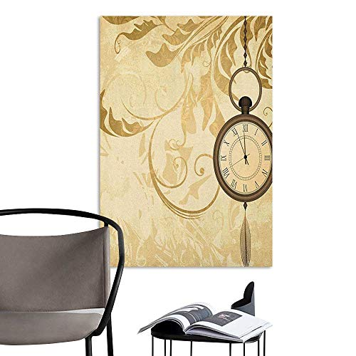 Art Decor 3D Wall Mural Wallpaper Stickers Clock A Vintage Grungy Background Design with Pocket Watches on Chain Romantic Retro Art Print Brown Decoration The Decorations Living Room W24 x H36