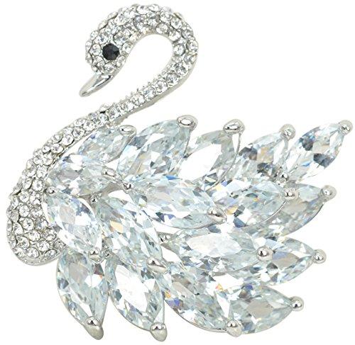 Gyn&Joy Women's Luxury 3D Austrian Crystal Swan Bird Bridal Brooch Pin BZ009