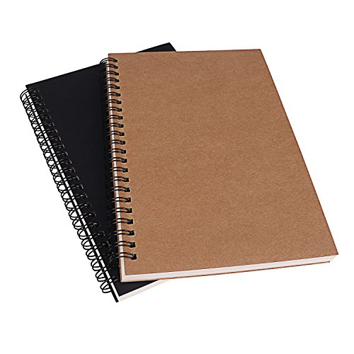 Spiral Notebook, 2 Pack Sketch Pad Unlined Planner Travel Diary Blank Writing Journal for Drawing Doodling, 5 x 7, 100 Pages Per book