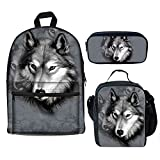 Bigcardesigns Teenager School Bag Backpack with Lunch Bag Pencil Case 3 pcs for Elementary Boys