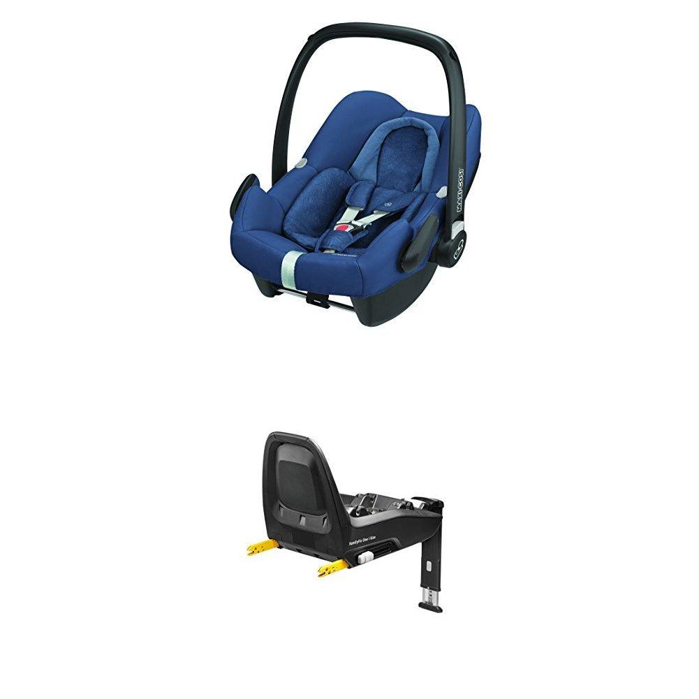 Maxi-Cosi Rock sichere Babyschale Gruppe 0+ (0-13 kg) Kindersitz für das One i-Size Konzept, nomad grey, inkl. Basisstation FamilyFix One i-Size Dorel