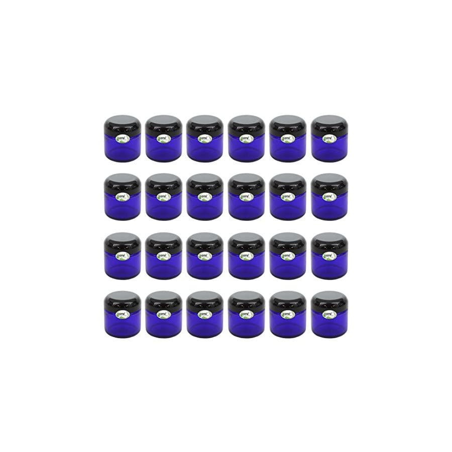 24 x 2oz New & Empty DIY Cobalt Blue Glass Jars with Black Dome Liner Lids by COTU (R) (Suitable for Storing Salve, Cream, Diy Beauty, Essential Oils, Lotion, Apothecary, Body Butter & Sugar Scrub)