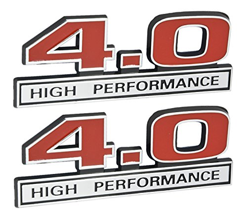 4.0 Liter V6 High Performance Engine Emblems in Chrome & Red - 5