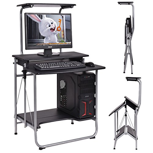 GHP 27.5''x25.6''x48.8'' Black MDF PVC Steel Tube Folding Computer Desk Workstation by Globe House Products