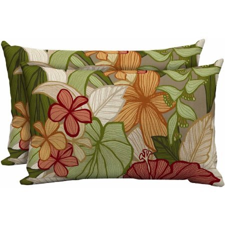 Better Homes and Gardens Outdoor Patio Lumbar Toss Pillow, Set of Two, Tropical Stripe