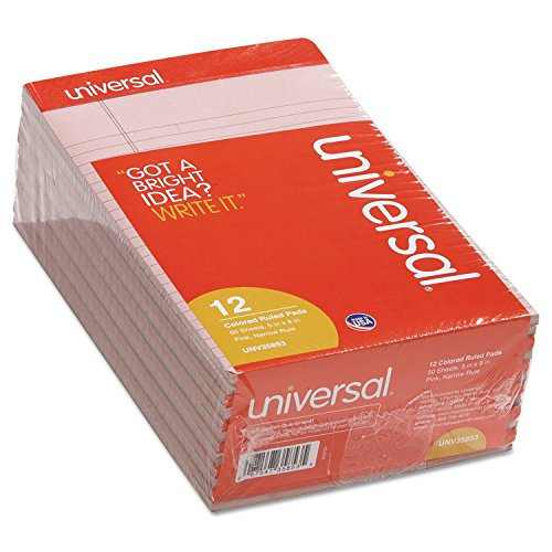 """Universal Colored Perforated Note Pads, Narrow Rule, 5"""" x 8,"""