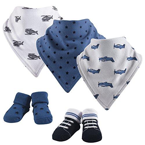 Hudson Baby Baby Bandana Bib & Socks Set, 5 Piece, Wingman, 0-9 Months
