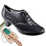 Womens Ballroom Dance Shoes Party Salsa Practice Dance Shoes Black Leather CD1108EB Comfortable - Very Fine 2'' Heel 7 M US [Bundle of 5]
