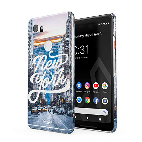 (Glitbit Compatible with Google Pixel 2 XL Case New York City NY Big Apple USA Times Square America Travel Wanderlust Brooklyn Manhattan Thin Design Durable Hard Shell Plastic Protective Case Cover)